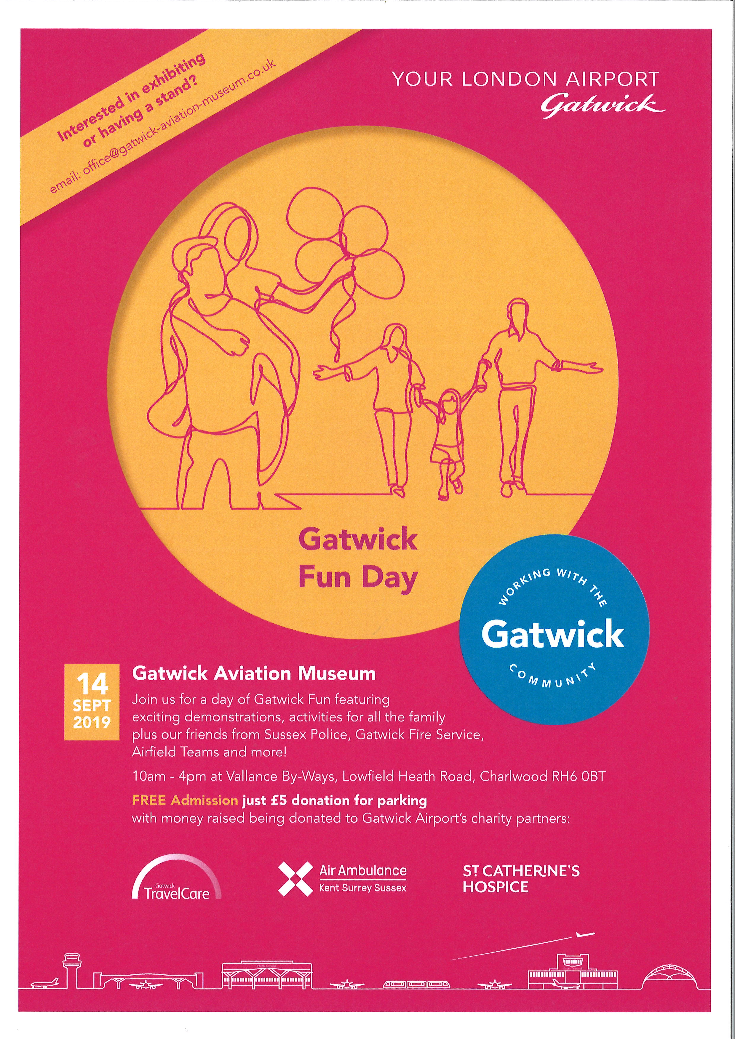 Gatwick Fund Day poster, text from poster shown below