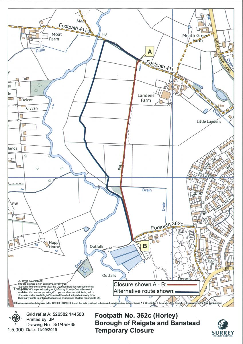 362c (Horley) temporary closure plan showing the closed route and the diversion