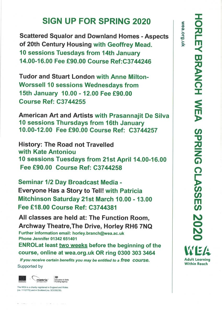 poster of WEA Spring classes full test below