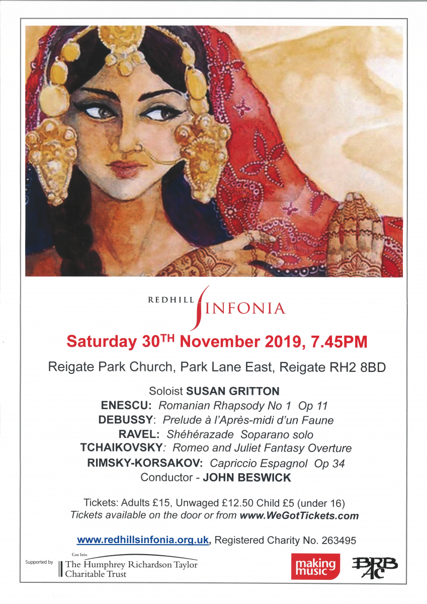 Poster for Redhill Sinfonia's upcoming concert on November 11th
