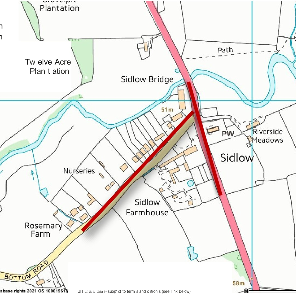 An image of a map with a highlighted section of the A217, showing where roadworks will be taking place.