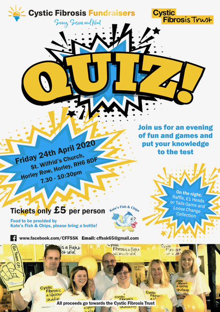A poster advertising the CFT's quiz night, April 24th, 19:30, at St Wilfrid's Church Horley Row. £5 tickets.