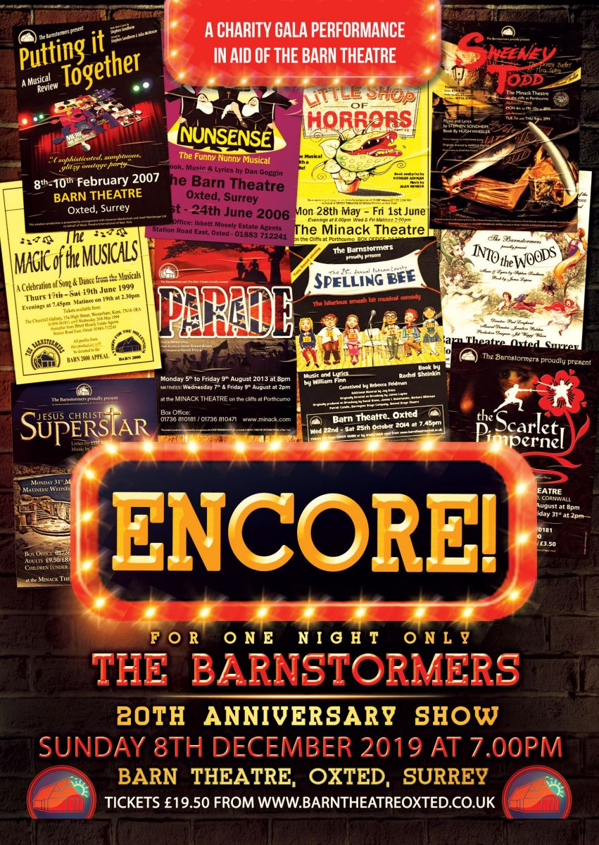 A flyer for the Barnstrormer's 20th Anniversary Show