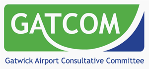 Image of the Gatwick Airport Consultative Committee logo, 'GATCOM', with the text 'Gatwick Airport Consultative Committee' below