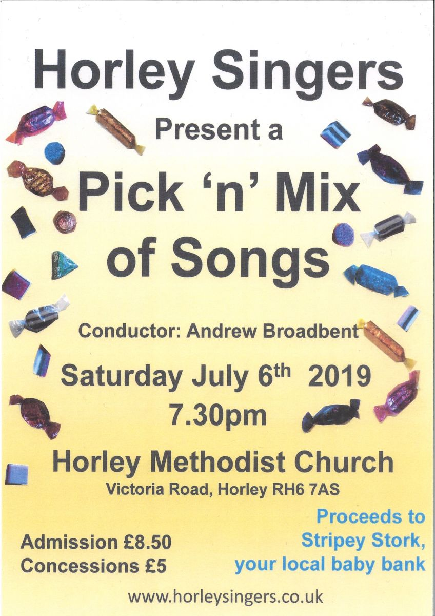 A post advertising the Horley Singer's concert, entitled 'Pick 'n' mix of Songs', at Horley Methodist Church