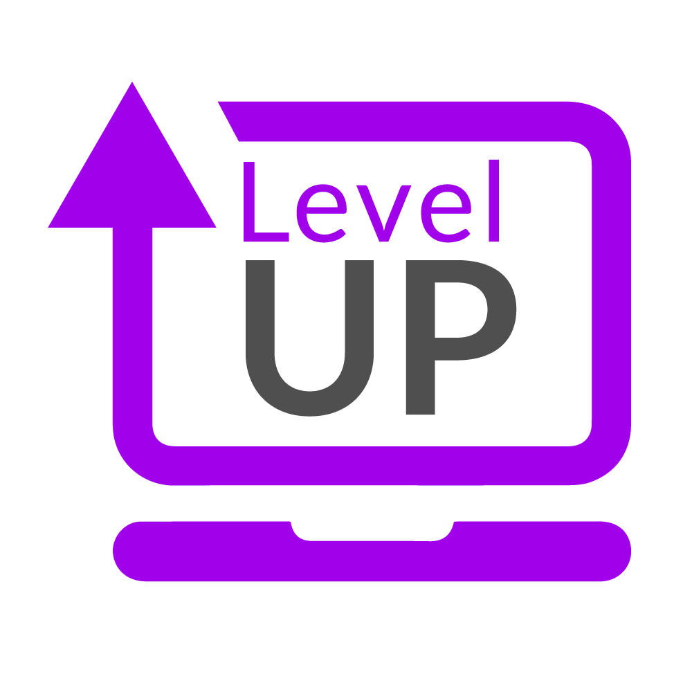The logo for the level up laptop appeal - appears as a minimalist image of a computer monitor surrounding the text 'level up'