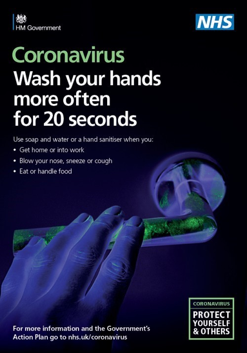 A poster encouraging people to wash their hands more often, for 20 seconds or more, to help prevent the spread of Coronavirus.