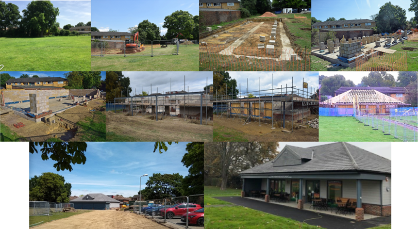 Collage of photo progress of the cafe build