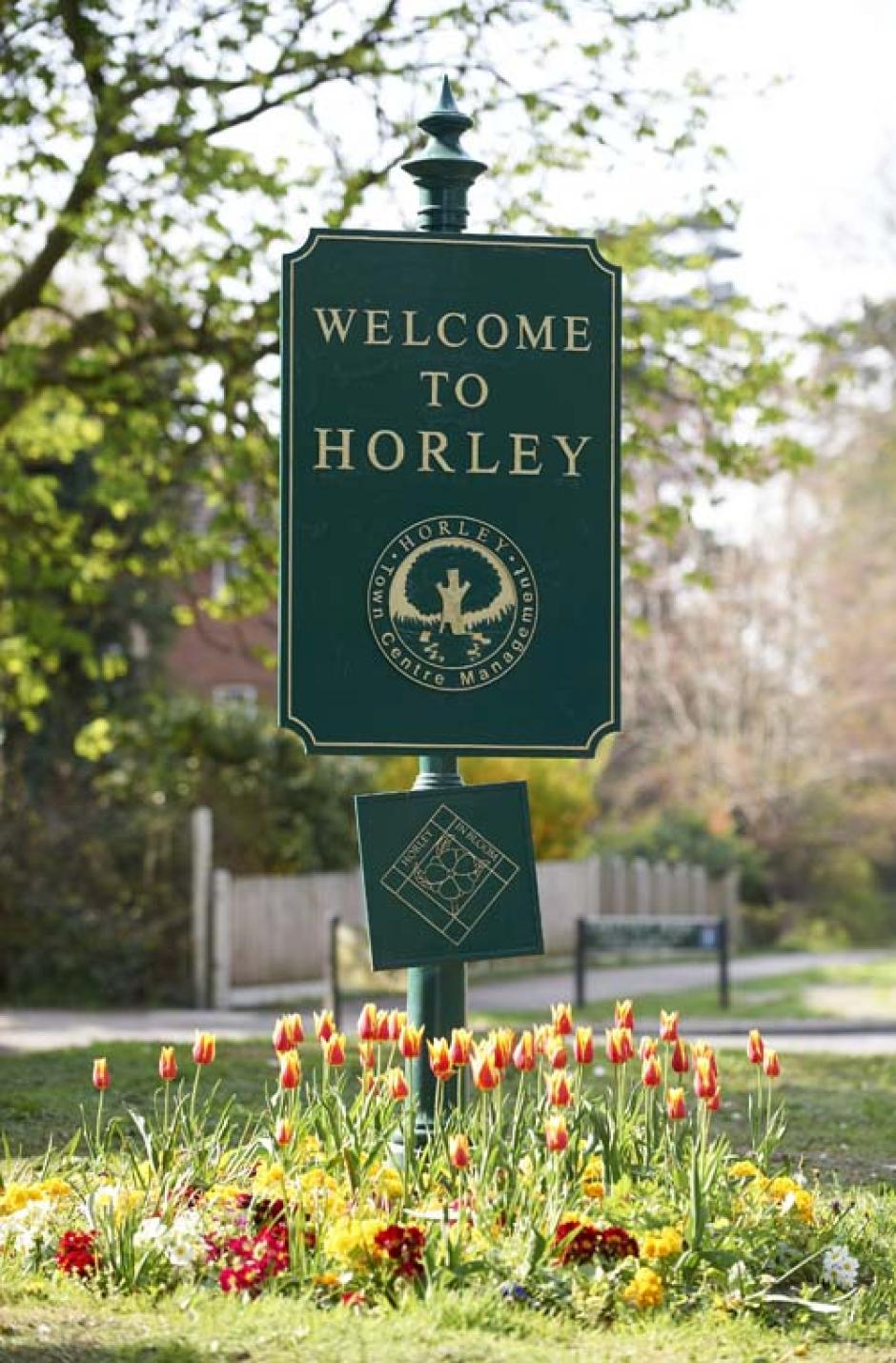 Photo of a sign reading, 'Welcome to Horley'. On the sign is the town emblem, a large tree, surrounded by the text 'Horley Town Centre Management'
