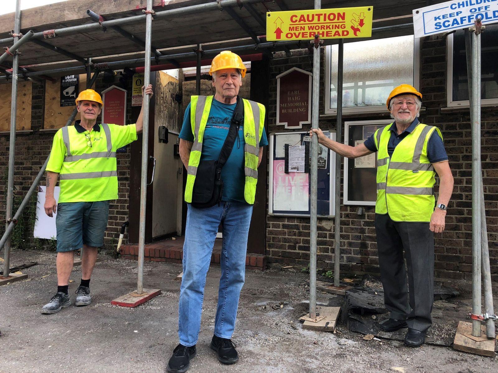 A photo of Cllr David Powell, alongside Tony Keay and Kevin Devlin, outside the damaged hall.