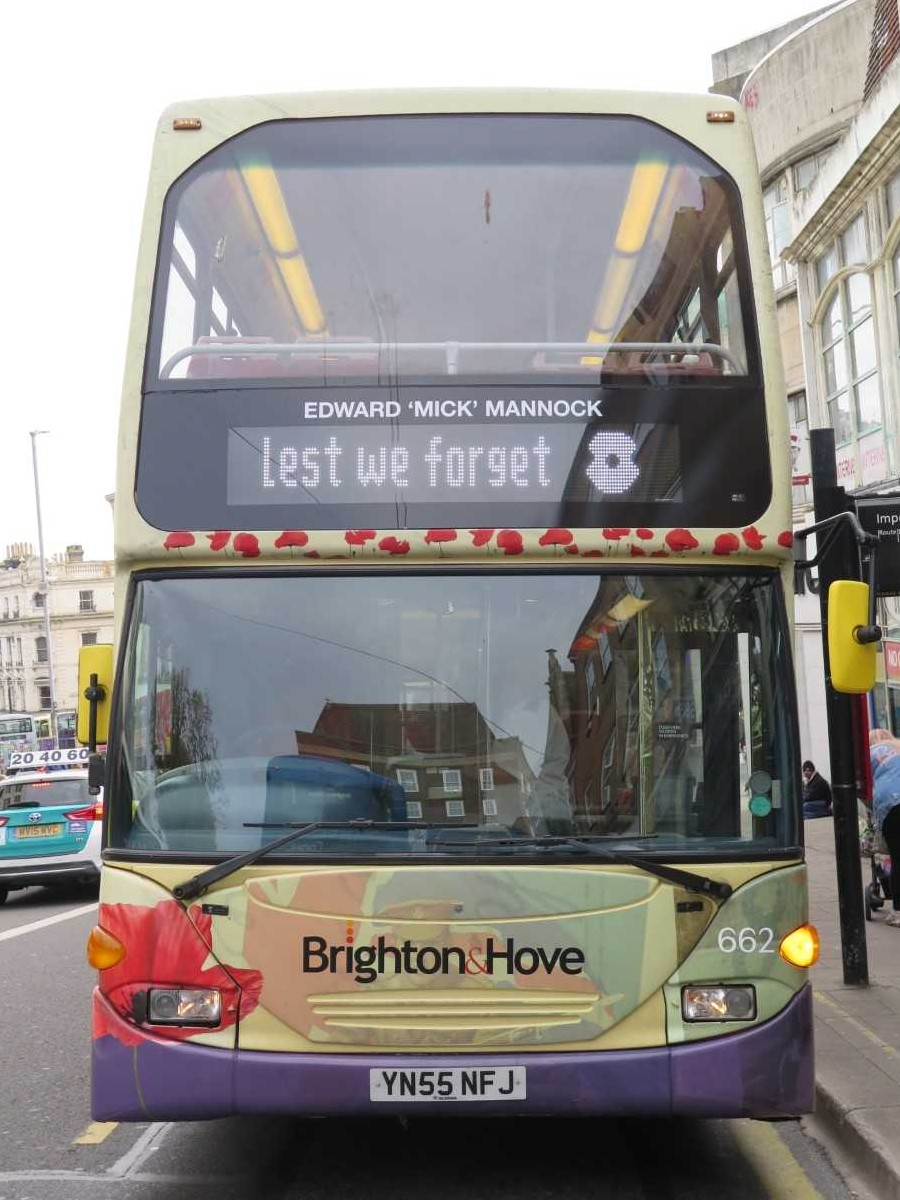 A photo of a bus decorated with pictures of poppies.