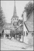 Pencil drawing of the Six Bells public house in the Nineteenth Century, with St Bartholomenw's visable in the background